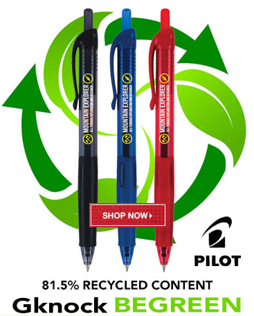 Promotional Pilot Gknock BeGreen Pens Custom Printed with Logo for Advertising